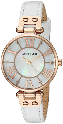 Anne Klein Women's Quartz Metal and Leather Dress Watch, Color:White