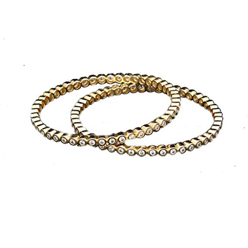 CaratYogi Fashion White Cubic Zircon Round Shape Stone Studded Bangles for Women 18K Gold Plated Set of two Kangan Handcrafted Jewellery Traditional Golden Indian Kada Gift for Girlfriend VBL 3-4