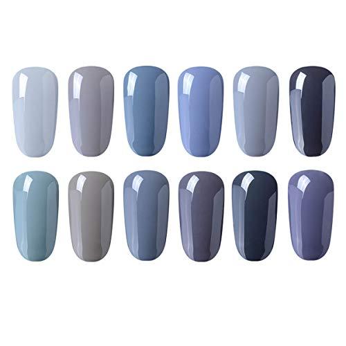 CLAVUZ Gel Nail Polish 12pcs Gray Nail Polish Kit Soak Off UV Gel Nail Lacquer Nail Art Manicure New Starter Set