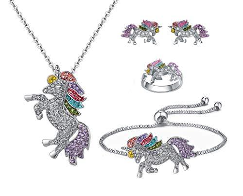 4-Pack Rainbow Unicorn Earrings, Ring, Necklace, Bracelet