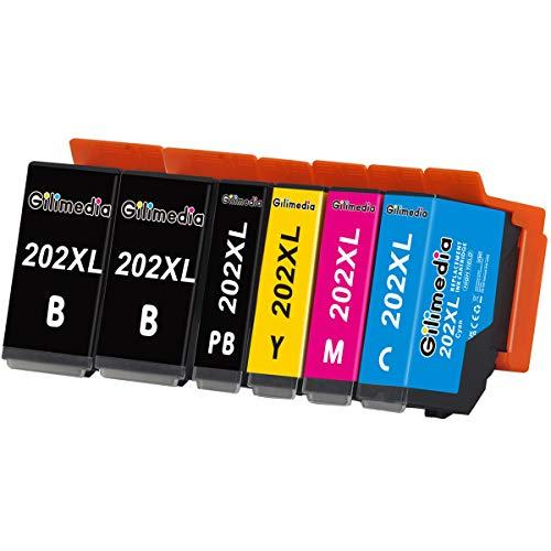 Gilimedia 202 XL 202XL Cartuccia d'inchiostro con Epson 202 per Epson Expression Premium XP-6100 XP-6000 XP-6105 XP-6005 XP6100 XP6000 XP6105 XP6005 Stampante ( Nero Ciano Magenta Giallo)