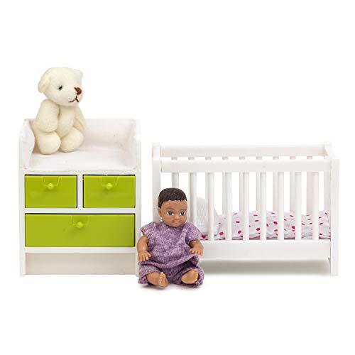 Lundby 60-209900 - Babymöbel Puppenhaus - Möbel 7-teilig - Puppenhauszubehör - Gitterbett - Babybett - Wickeltisch - Wickelkommode - Baby - Zubehör ab 4 Jahre - 11 cm Puppen - Minipuppen 1:18