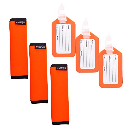 Cosmos 3 PCS Fluorescence Orange Comfort Neoprene Handle Wraps/Grip/Identifier for Travel Bag Luggage Suitcase + 3 PCS Orange Travel Accessories Luggage Tag Identifier
