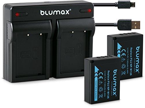Blumax 2X Akku 1140mAh für Fujifilm NP-W126s/NP-W126 + Mini Dual-Ladegerät USB für Fujifilm XT-3 XT3 X-T1-X-T10-X-Pro1-X-E1-X-E2-X-M1-X-A1-X-A2-X-Pro2-X-ES2-X-A3-FinePix HS50EXR