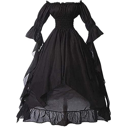 Sanyio Vestido renacentista para Mujer, Vestido Medieval irlands, Disfraz de Cintura Fruncida, Manga abullonada, Hombro con Volantes, Disfraz para Mujer