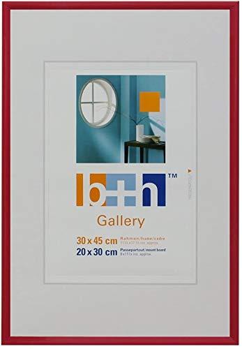 Bilderrahmen 30 x 45 rot Kunststoff, Echt-Glas zum Aufhängen Portrait-Rahmen für Puzzle geeignet