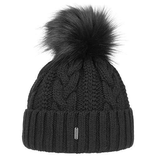 McBurn Cable Knit Umschlagmütze Bommelmütze Mütze Pudelmütze Strickmütze Damen - Made in Italy Wintermütze Wollmütze mit Umschlag, Futter, Futter Herbst-Winter - One Size schwarz