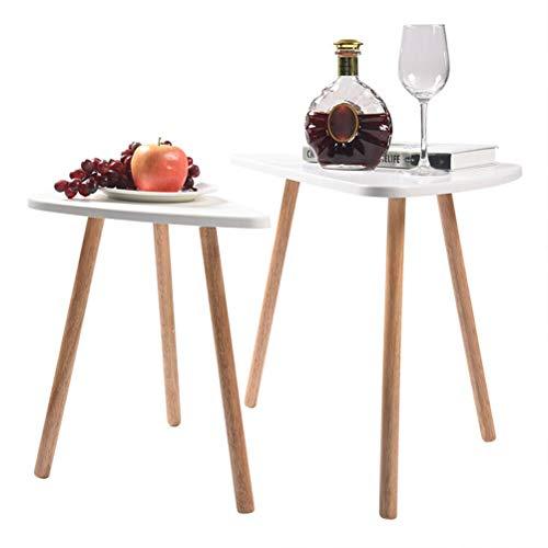 Nido de 2 mesas retro, café, té, mesita auxiliar, juego de mesa triangular, mesa auxiliar escandinava, moderna, de madera, para oficina, hogar, interior