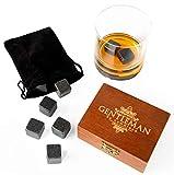 Whisky Stones Piedras para el Whisky, Set de regalo de 9 cubos de hielo de granito para enfriar su whisky, vino y otras bebidas; Caja de madera + Bolsa de terciopelo