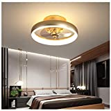 LAITONG Ceiling Fan with LED Light Remote Control, 15.7'' Modern Invisible Fan Round Recessed Ceiling Fan Light,3 Color Dimmable 48W 110V 3 Speed Timer Hidden Electric Fan,for Kids Room Kitchen