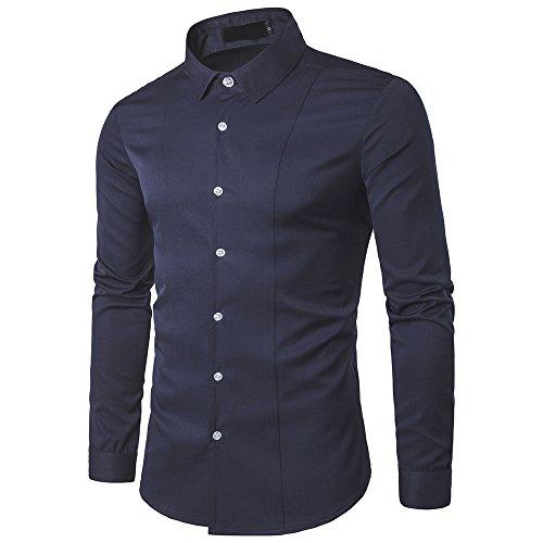 Mens Shirt Casual Long Sleeve Button Down Plain Shirts Pocket Basic Classic All-Match Elegant Shirt Work Casual Shirt Tops Skin-Friendly Soft Top Simple Style S