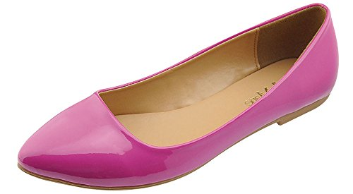 Bella Marie Womens Pointy Toe Slip On Classic Ballet Flat Flats-Shoes,6 B(M) US,Magenta Patent