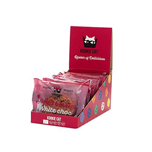 Kookie Cat Wildbeeren - Vegane Cookies Einzeln Verpackt Glutenfrei Sojafrei Bio Mandel & Hafer - 12 X 50g Multipack
