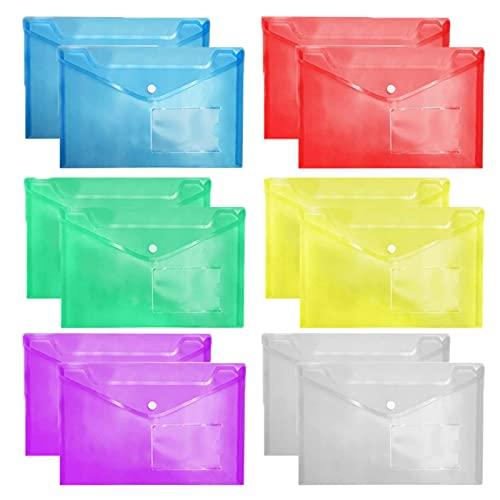 Tuofang Bolsa Archivadora A4, 12 Unidades Carpeta A4 Colorear, Carpetas de Plástico A4 Bolsas de Documentos con Botón para Documentos, Carpeta Transparente, para Oficina, Hogar, Escuela y Viajes ✅