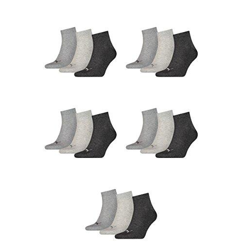 Puma 15 Paar Unisex Quarter Socken Sneaker Gr. 35-49 für Damen Herren Füßlinge, Farbe:800 - anthraci/l mel grey/m me, Socken & Strümpfe:47-49