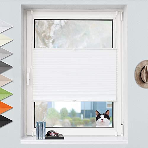 Grandekor Plissee Klemmfix Plisseerollo ohne Bohren (35x100 cm BxH Weiß), Fensterrollo Faltrollo Easyfix lichtdurchlässig Sicht- & Sonnenschutz für Fenster & Tür