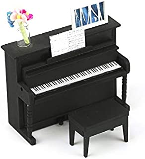1:18 Scale Cool Beans Boutique Miniature Dollhouse Musical Instrument DIY Kit – Black Upright Piano with Bench – 1:18 Scale Miniature Furniture (English Manual)