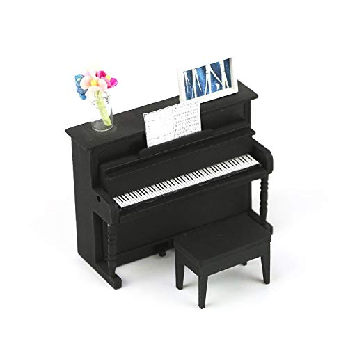 1:18 Scale Cool Beans Boutique Miniature Dollhouse Musical Instrument DIY Kit – Black Upright Piano with Bench (Assembly Required) – 1:18 Scale DH-HD18-1181007 Black Piano
