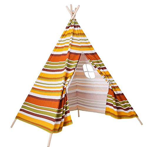 Fall Kids Castle Play Tent, Cotton Canvas Child Indian Teepee Tent, Teepee with Banner, for Indoors and Outdoors