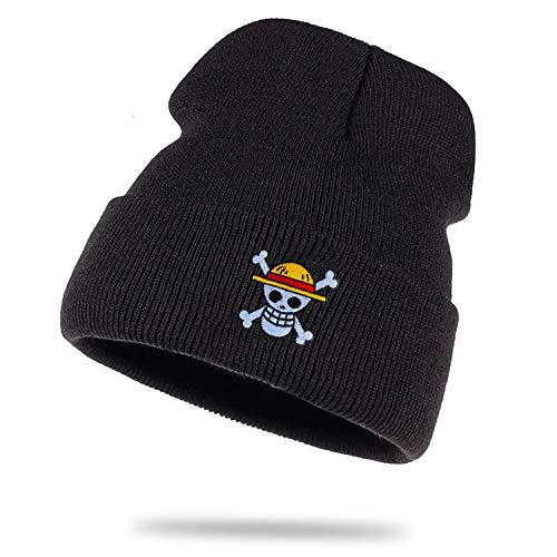 Sombrero de Punto Ruffy Luffy Monkey D. Un Gorro de Lana Gorro de Invierno Enrollado Zoro Sombrero de Marinero Pieza Unisex, Farbe2:Negro