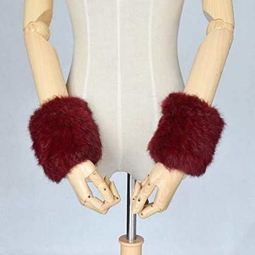 GF704 Hand Made Knitted Fur Fabric Real REX Rabbit Fur Glove Winter Gloves Mittens mit handwear - (Color: Wine red)
