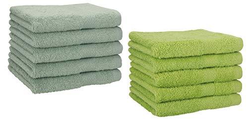 Betz Paquete de 10 Toallas de tocador Premium 100% algodón 30x50 cm Color Verde heno y Verde Aguacate