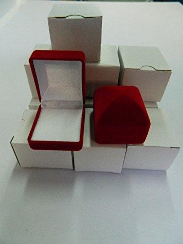 6 X Ecrin bague en velours rouge Boîte à Bijoux Anneaux Bague Rangement Porteur Mariage
