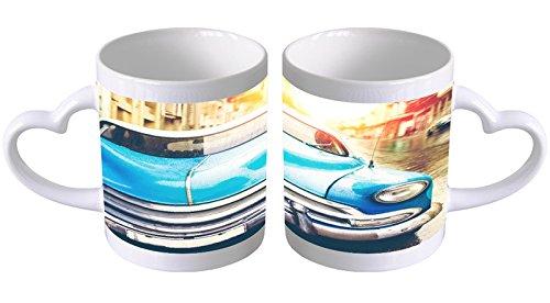 LEotiE SINCE 2004 Kaffeetasse mit Herzgriff Kaffeebecher Becher Tasse Mit Fotodruck Fototasse Oldtimer Auto Kuba Oldtimer Herz Griff
