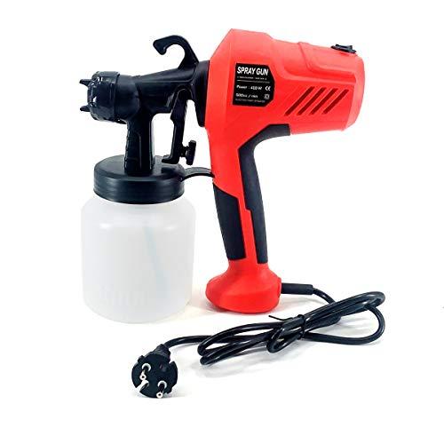 NICCOO Pistola aerográfica eléctrica, 220 V, 800 ml, con botón de control de flujo ajustable, 500 cc min, pistola de pulverización automática de alta presión para barnizar, tartas, látex