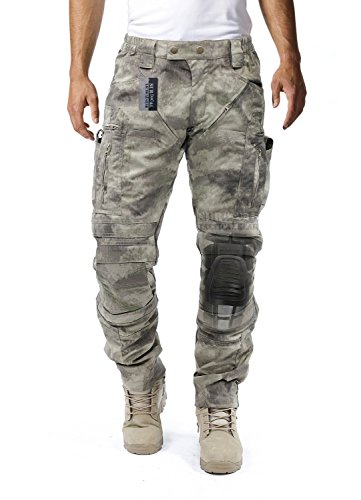 Survival Tactical Gear Men's Airsoft Wargame Tactical Pants with Knee Protection System & Air Circulation System (AU Camo, S)