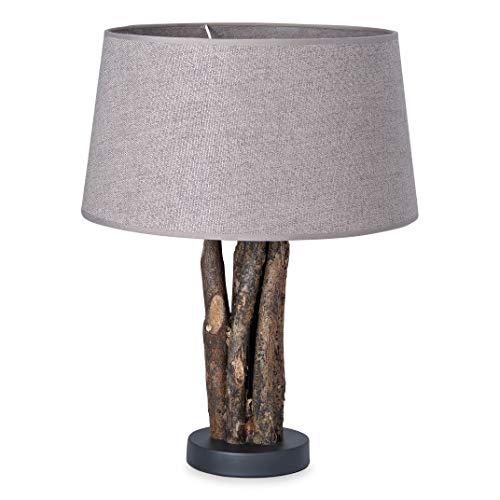 Home sweet home tafellamp Bindy houten takken met lampenkap Melrose - grijs
