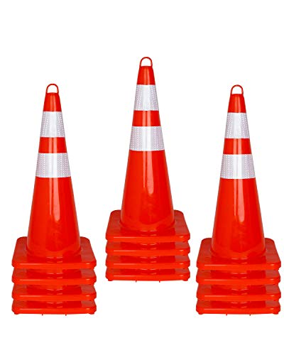12 Pcs Traffic Safety Road Cones - 28 Inch Orange Traffic Parking Cons with Reflective Collar