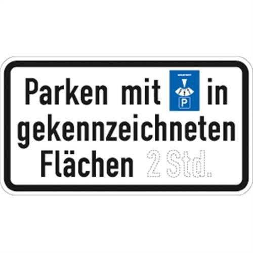 Verkehrszeichen VZ1040-33, Parken mit Parkscheibe in gekennzeichneten, Alu, RA1, 23,1x42cm Verkehrsschild