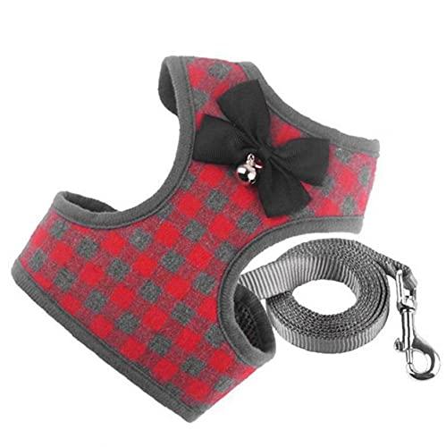 Oxatscr Dog Harness Leash Set No Pull Pet Cat Adjustable Lead Strap Vest Set with Bell Red M