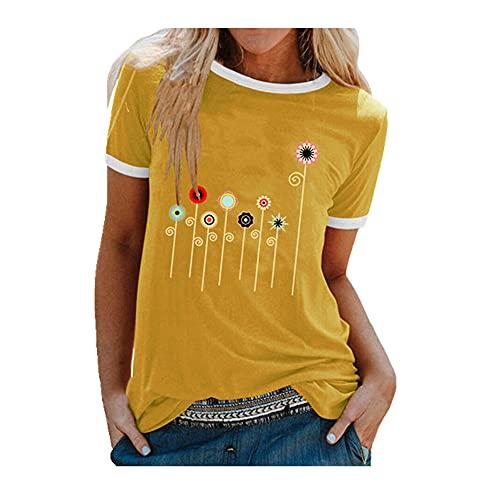 N\P Impresión colorida Tops manga corta mujeres camisetas sueltas cuello redondo