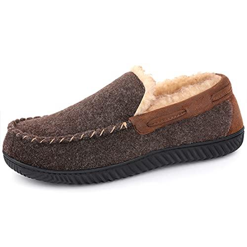 RockDove Hearthfire - Zapatillas de estar por casa tipo mocasín de espuma viscoelástica para hombre, marr�n (Mocha), 44.5 EU