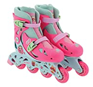 Printed padded liner for extra comfort and fit Glitter sock Glitter PVC wheels with 608Z bearings Easy adjustment across 4 sizes Quick-release ratchet closures
