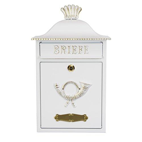 Heibi brievenbus MERENO in landelijke stijl, wit-goud