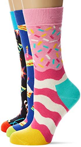 Happy Socks Damen Happy Birthday Playing Gift Box Socken, Mehrfarbig (Multicolour 100), 4/7/2019 (Herstellergröße: 36-40) (3er Pack)