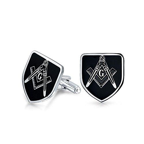 Bling Jewelry Bouclier francs-maçons Compass Symbole Boutons de Manchette maçonnique pour Hommes Émail Noir Deux Tons Argent Ton en Acier Inoxydable c