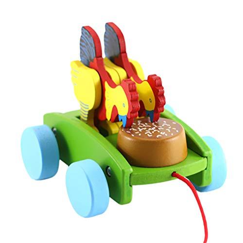 Toyvian Nachziehspielzeug Holz Push and Pull Spielzeug Walk A Long Huhn Spielzeug für Kinder Ostern Geschenk (zufällige Farbe)