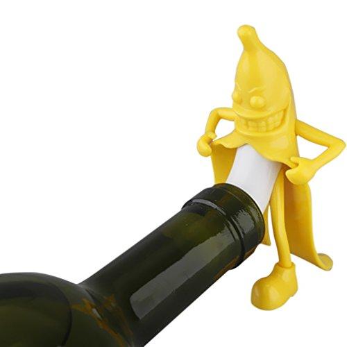ZIMZIM Bananen Man Flaschenverschlüsse Weinverschluss Sektverschluss Verschluss Wein Weinaccessoires Küchenhelfer Küchenzubehör