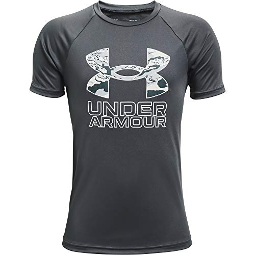 Under Armour Boys' Tech Hybrid Printed Fill Short-Sleeve T-Shirt , Pitch Gray (012)/Washed Blue , Youth X-Large