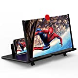 12' Screen Magnifier –3D HD Mobile Phone Magnifier Projector Screen for Movies, Videos, and Gaming–Foldable Phone Stand with Screen Amplifier–Supports All Smartphones(Black)