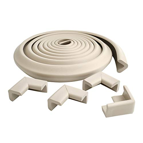 Prince Lionheart Cushiony Table Edge Guard | Soft & Cushiony Impact Absorbing Foam | 12'/3.65m roll & 4 Corners | Edge & Corner Protectors | Cut To Fit | Wipes Clean | Easy to Fit & Remove | Neutral