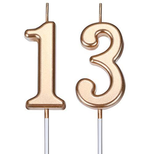 BBTO Candele di Compleanno 13 ° Numero Candele di Torta Numero Candele Decorazione di Felice Compleanno Torta Topper per Compleanno Nozze Anniversario Celebrazione Bomboniera (Champagne Oro)