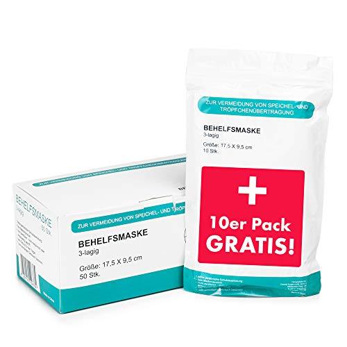 NEU: 50 Stück Mundschutz + 10 Stück GRATIS – Einweg Mundbedeckung aus Vlies (Versand aus Deutschland) (50 Stück + 10 Gratis)