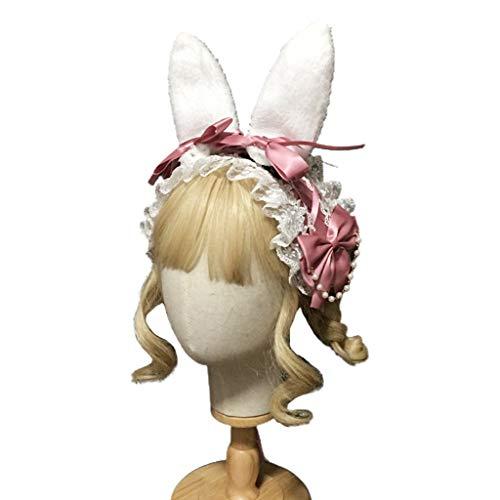 Joocyee Diadema de Orejas de Felpa Lazo de Cinta de Encaje con Cuentas, Diadema de Cosplay para Mujer, Tocado, Pasta de Frijoles, Accesorios para el Cabello de Lolita, Pasta de Frijoles
