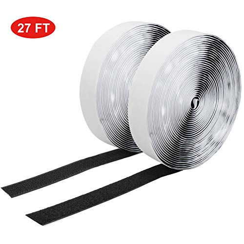 27 Ft x 1 Inch Adhestive Hook and Loop Strips, Hompie Self Sticky Back Fastening Interlocking Tape, Fabric Fastener Mounting Patch Roll for Sewing, Crafting,DIY(Black)