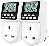 ORIDGET 24 Hour Digital Electric Timer Plug Socket with Countdown and On-Off Repeat